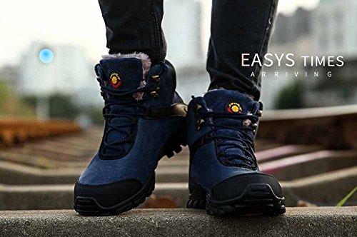 Hommes Chaussures De Marche En Daim 2017 Automne Hiver Nouveau Sport Chaussures Plus Cachemire En Plein Air Bottes De Randonnée Bleu