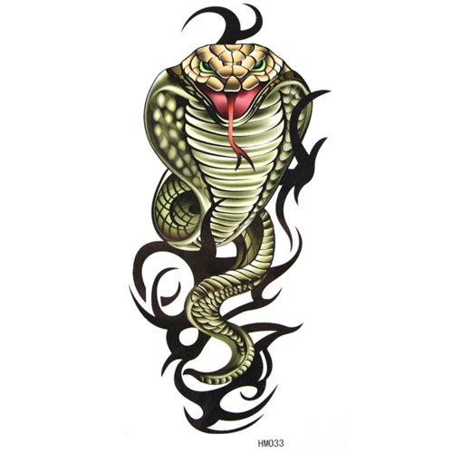 King Horse Cool et de vente chaud imperméable à l'eau de tatouage autocollant vert cobra