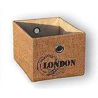 KMH®, Praktischer Schrankkorb *Traveller* 20 x 26 cm (Farbe: natur / Aufdruck: London) (#204120)
