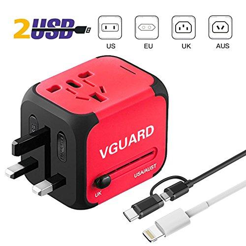 VGUARD Voyage Adaptateur International et 2 USB (5V 2.4A) Adapteur Chargeur Prise Anglaise pour Americaine UK AUS EU 150 Pays [Incluant Un Câble Light...