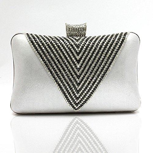 Le nuove borse borse sacchetto del vestito da sposa borsa borsa banchetto borsa a forma di cuore di diamante di sera della mano ( Colore : Nero ) Silver