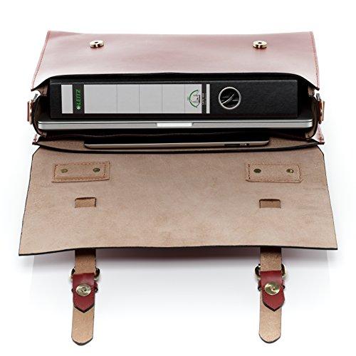 """SID & VAIN Aktentasche BOSTON - Laptoptasche fit für 15"""", iPad mit Extra-Abtrennung- Businesstasche mit Schultergurt festes echtes Sattelleder hellbraun-cognac rot"""