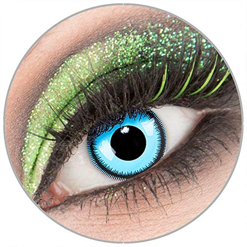 Farbige blaue 'Blue Lunatic' Kontaktlinsen ohne Stärke 1 Paar Crazy Fun Kontaktlinsen mit Behälter zu Fasching Karneval Halloween - Topqualität von 'Giftauge'