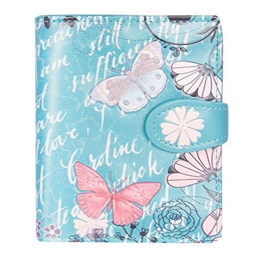 Shagwear Junge-Damen Geldbörse, Small Purse Designs: (Klassische Blüten Schmetterlinge Blaugrün/Vintage Butterfly Floral)