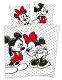 Herding Disneys Minnie Mouse & Mickey Maus Bettwäsche 80x80 135x200cm, 100% Baumwolle mit Reißverschluss