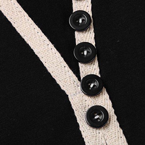 Amlaiworld Ragazze Donna Solido Bottoni V collo T-shirt manica lunga camicetta Nero