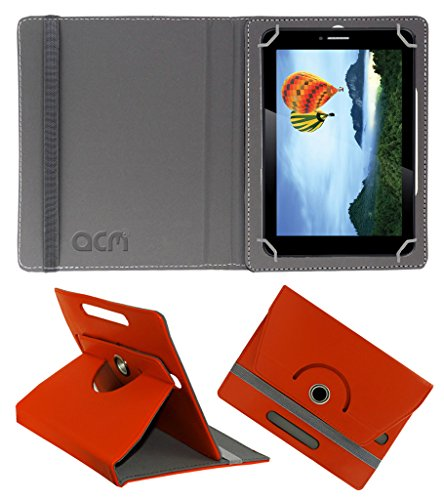 Acm Rotating 360° Leather Flip Case for Iball Slide 7236 2gi Cover Stand Orange  available at amazon for Rs.149
