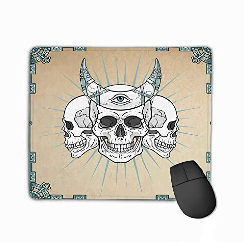 Mouse Pad Three Human Skulls shamans Magic Horn Eye Providence Background Imitation Old Paper Decorative Frame Rectangle Rubber Mousepad 11.81 X 9.84 Inch