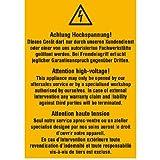 Achtung Hochspannung! Dieses Gerät.. Warnschild, selbstkl.Folie,7,40x10,50cm