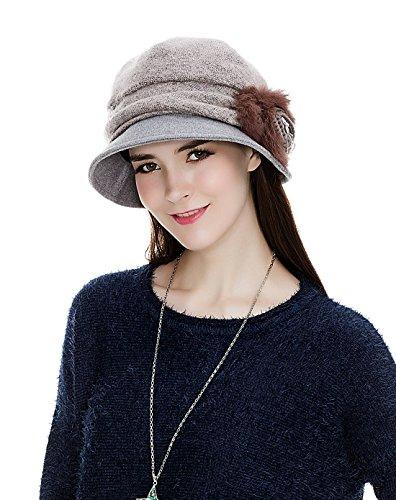 SIGGI Wolle rosa 1920s Glockehut Retro Fedorahüte für Damen Klassisch Fischerhüte Winter