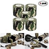 MHOYI Camo Wrap Tape, Nastro militare mimetico dell'esercito, Cling per fucili da caccia Camping da caccia, Benda adesiva protettiva per bendaggio elastico, confezione da 5 (giungla)