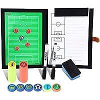 BizoeRade Professional Fußball Taktikmappe Taktiktafel Fußball Coach-Board mit Stifte, Radiergummi, Magneten,Aufbewahrungstasche