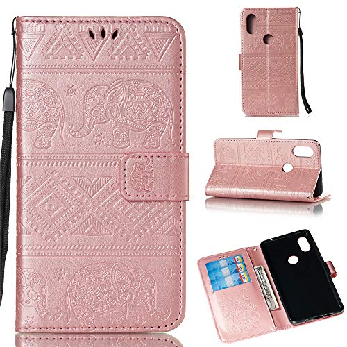 BestCatgift Mi Mix 2S Wallet Funda, [Embossed Elephants] Magnetic Protective PU Leather Flip Folio Cover para Xiaomi Mi Mix 2S - Rose Gold