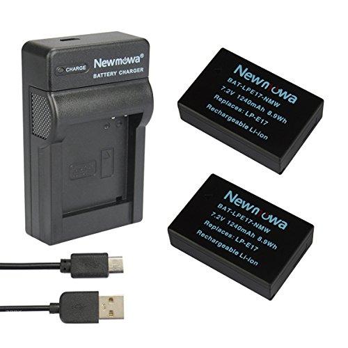 Galleria fotografica Newmowa® LP-E17 Batteria (confezione da 2) e Portable Micro USB Caricatore kit per Canon EOS M3 750D 760D Rebel T6i T6s 8000D Kiss X8i(Half-Decoded)