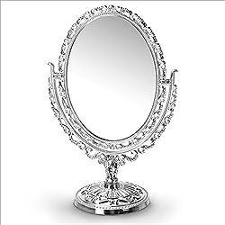 Espejo aspecto antiguo con pie, estilo vintage plateado