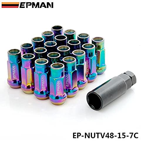 EPMAN MT V48 Auto Steel Acorn Rim Extended Open End Wheel Racing Lug Nuts With One Key M12X1.5 20pcs