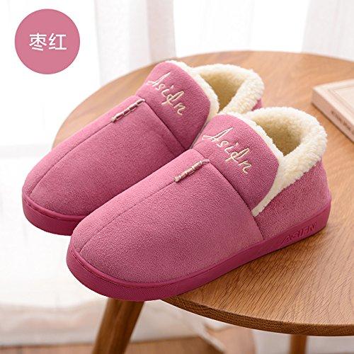 DogHaccd pantofole,Autunno Inverno piscina home soggiorno con un tampone di cotone pantofole pacchetto con un paio di uomini e donne anti-slittamento spesso caldo cotone felpato scarpe Il rosso3