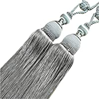 JKoYu Curtain Tiebacks Curtain Accessories,2Pcs Round Ball Tassels Curtain Tieback Rope Holdback Drape Holder Clip Decor - Grey