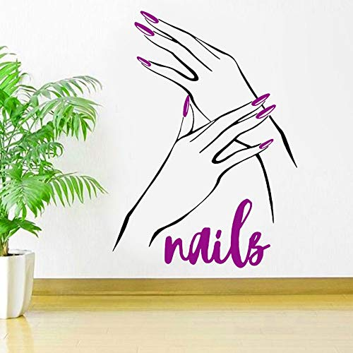 XCGZ Stickers muraux Ongles Beauté Salon Decal Manucure Art Autocollant Nail Shop Affiche Papier Peint Peintures Murales Salons De Beauté Décoration Murale DIY 41 * 57 Cm