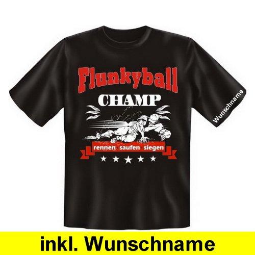 Stylishes und trendiges Fun T-Shirt: Flunkyball Champ (mit individuellem Wunschnamen) (Farbe: Schwarz, Größe: XL) (Champs-xl T-shirt)