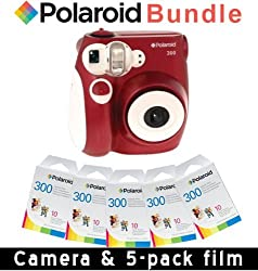 Polaroid Pic-300 Instant Camera In Red + 5 Pack Instant Film