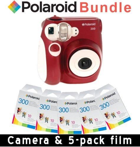 Polaroid Pic-kamera (Polaroid PIC-300Sofortbildkamera-Bilderrahmen mit 5Packungen Fotopapier), Rot)