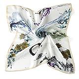 Neuleben Nickituch aus Seide Blumen Tuch Bandana Halstuch für Damen 12 Muster (Weiß)