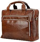 Echt Leder Messenger bag Business Tasche Aktentasche Herrentasche Schultertasche Umhängetasche DIN-A4 Braun Laptoptasche Notebooktasche Cognac MB-11