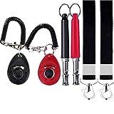 Electrely Silbato Perros y Clicker Conjunto con Acollador Ultrasonidos - Silbato para Entrenamiento Perros