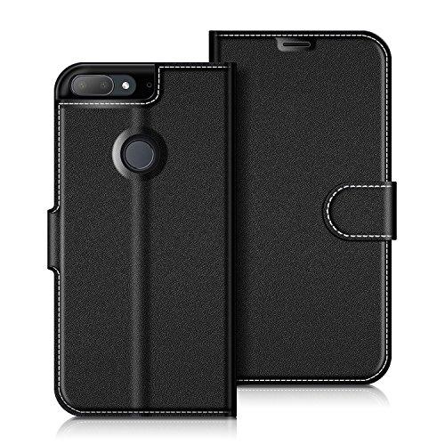 COODIO HTC Desire 12+ Hülle Leder Lederhülle Ledertasche Wallet Handyhülle Tasche Schutzhülle mit Magnetverschluss/Kartenfächer für HTC Desire 12+, Schwarz