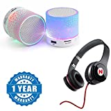 #3: Mi 4i Compatible Certified Colorful LED Light Crack Pattern Mini Stereo Portable Wireless Bluetooth Speaker with Mega Bass Headphones with Mic(1 Year Warranty)