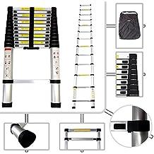 Todeco - Escalera Telescópica, Escalera Plegable - Carga máxima: 150 kg - Material: Aleación de aluminio - 3,8 Metro(s), EN 131