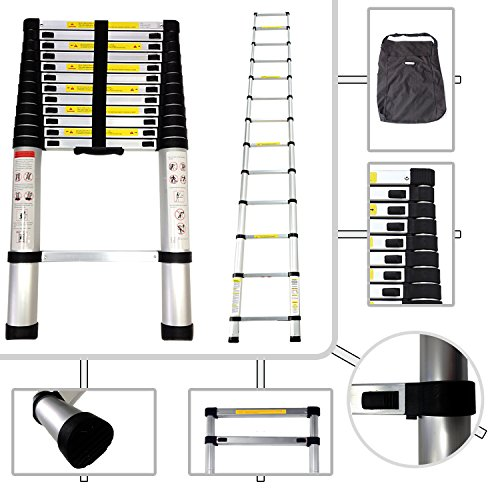 Todeco - Telescopic ladder, Échelle Pliable - Charge maximale: 150 kg - Standards/Certifications: EN131 - 3,8 mètre(s), Sac de transport OFFERT