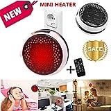 Nifogo Heater Mini Calentador Ceramico de Pared - Estufa Electrica con Control Remoto, 900W Termoventilador Bajo Consumo,Temporizador de 12 Horas, para Baño Casa Oficina (White+Remoto)