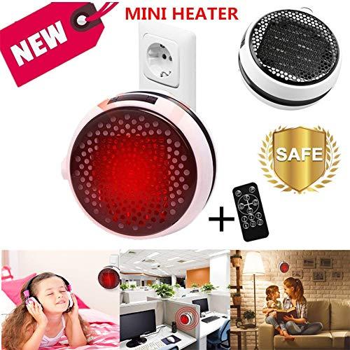 Heizlüfter Energiesparend, Mini Heizung für die Steckdose mit Fernbedienung, Heater Fan, Keramik Heizlüfter mit Thermostat/Timer für Zuhause Badezimmer Büro (Weiß-Fernbedienung)