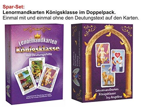 Preisvergleich Produktbild Lenormandkarten im Doppelpack: Lenormandkarten Königsklasse & Lenormandkarten Königsklasse mit Deutungstext speziell für Anfänger zum Kartenlegen lernen und einem spielerisch leichten Umgang mit den Karten.