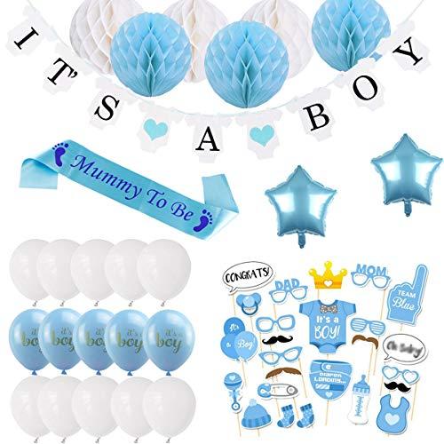BEMEI Babyparty Deko Junge Set, Baby Shower Party Deko It's A Boy Girlande, 6pcs Wabenbälle, Mummy to Be Schärpe, Fotorequisiten Masken, Konfetti Babyparty, 10pcs Luftballons