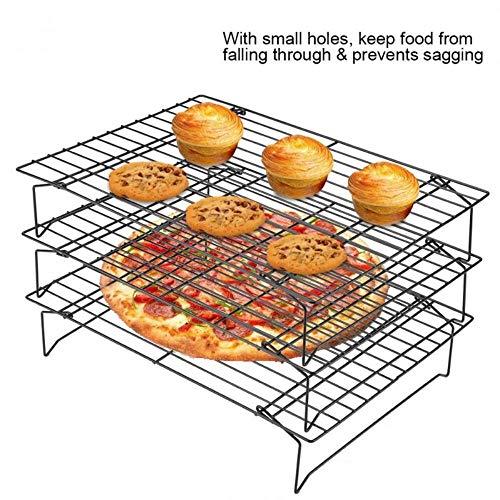 BAO 3-lagiges stapelbares Kühlregal Metall Kuchen Kekse Brot Kühlregal Netz Matte Halter Trockenkühler zum Kochen