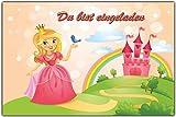 Einladungskarten Kindergeburtstag Prinzessin & Schloss Einladung Prinzessinnen - (8 Stück) Geburtstag Kinder Mädchen Pferd Regenbogen Einhorn