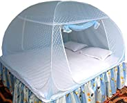 Healthy Sleeping Foldable Polyester Double Bed Mosquito Net - Embroidery (Sky Blue)