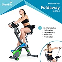 SKANDIKA Foldaway X-3000 - Vélo d'appartement x-Bike Pliant - 8 Niveaux de Resistance - Dossier/Bluetooth