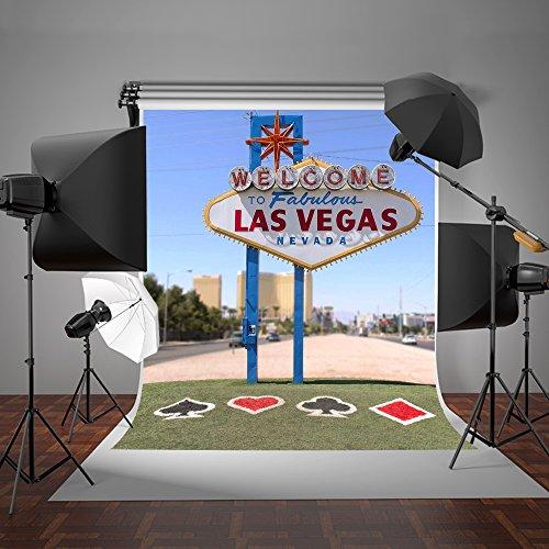 KateHome PHOTOSTUDIOS 6.5x10ft Las Vegas Fotografie Kulisse Blauer Himmel Grüne Wiese für Hochzeit Fotostudio Kulissen