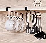EigPluy 2St Becher Tassen Weingläser Lagerung Haken Küchenutensilien Krawatten Gürtel und Schal Hängen Haken Rack Halter Unterschrank Schrank ohne Bohren (Schwarz)