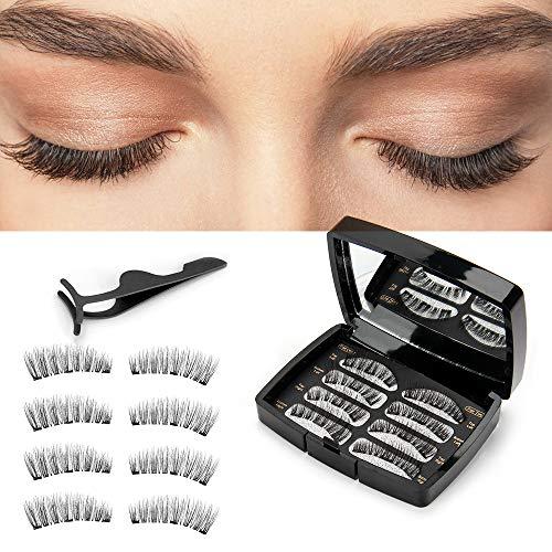 Magnetische Wimpern-3D Magnet Künstliche Wimpern Set Künstliche Wimpern Set,Wiederverwendbare Kunstfaser Künstliche Wimpern mit Magneten Kein Kleber Wimpernverlängerung für ,8 Stücke(2 Paare) -