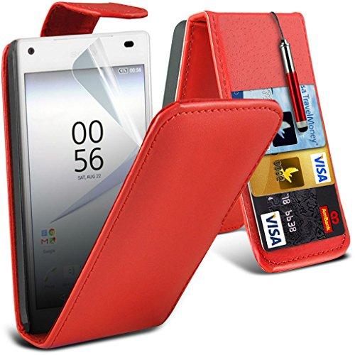 (Clear) Étui pour Apple iPhone 6s Haute Qualité Case Clear Gel Housse de peau Durable Survivor TPU par i-Tronixs Leather Flip + Pen ( Red )