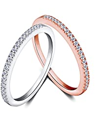 c2541722ce37 Mujeres Boda Compromiso Anillos Plata de Ley 925 Cz Diamantes Marcas  Solitarias Princesa Corte Promesa Aniversario Novia Joyería…
