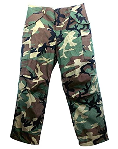 USA Military Issue Pants Woodland Camouflage / Trousers / New Condition / 100% Genuine / Vietnam Era / M65 / (Large Long 37