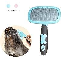 RCRuning-EU Cepillo para Perros de Pelo Largo Pelo Corto, Cepillos para Gatos, 360 Degree Rotation Flexible Slicker Brush for Mascota (Large, Blue)