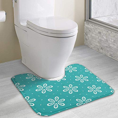 Hoklcvd Personalisierte Toilette Teppich-Schöne Blumen WC U-förmige MatCartoon weiche Matte Dusche Boden Teppich Badezimmer - Koi Wc