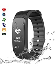 CHEREEKI Tracker d'Activité Smart Bracelet Fréquence Cardiaque Sports Bracelet avec Ecran Tactile Smart Fitness Tracker Moniteur de Sommeil Smart Watch pour Android et iPhone iOS Smartphone
